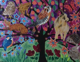 Tree of LIfe in a colourful, purple sky