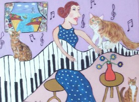 The Eccentric Piano player and her cats