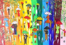 Colourful Umbrella paintin