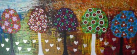 Silver Hearts among Colourful Lollipop Trees