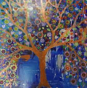 A colourful Blue and Copper Tree full of Hearts