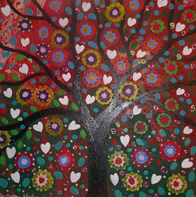 Colourful tree painting