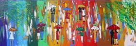 Umbrellas in a Rainbow Sky