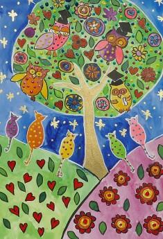 Owls on a folkart tree