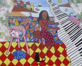 African Piano player and her cats