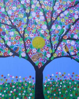 colouful bird tree