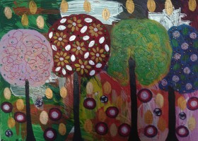 Golden Leaves with colourful Lollipop Trees