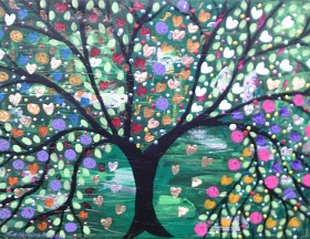 The Colourful Tree full of Hearts