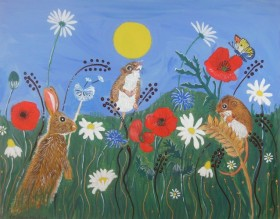 Two Mice and a rabbit among wild flowers
