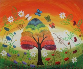 Poppies and Butterflies Whispering to the Rainbow Tree