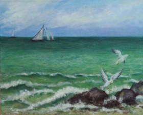 Brighton Rocks, Seascape with Gulls
