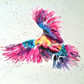 Songbird artwork.  Contemporary watercolour painting of a bird in flight.