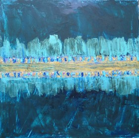 Abstract in teal midnight blue shocking pink gold modern art