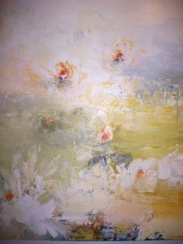 Oil painting of sunlit pond with spring blossoms on it