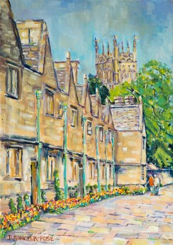 SPRINGTIME STROLL IN CHIPPING CAMPDEN painting for sale
