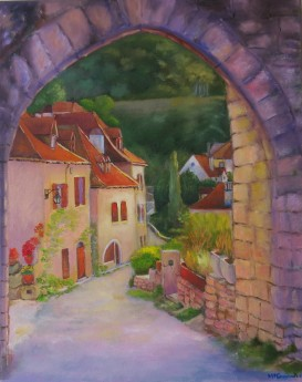 Canvas oil painting of a village in France by Maureen Greenwood