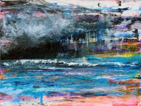 Detail view of abstract seascape painting