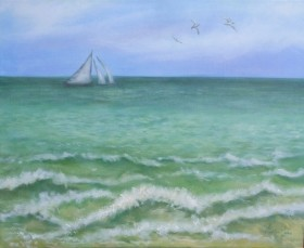 Stormy Sea -Seascape with sailing ships and seagulls