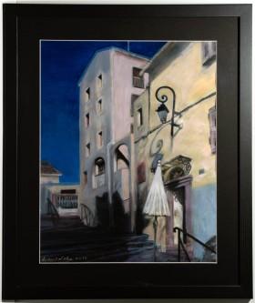 framed art, street view art, mixed media painting