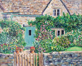 SUMMER COTTAGE GARDEN painting for sale