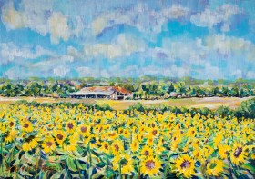 SUNFLOWERS IN GASCONY painting for sale