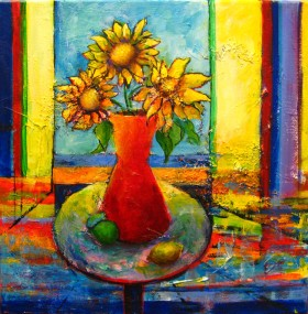 Sunflowers in a Red Vase (commission)