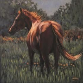 Chestnut Horse pastel painting