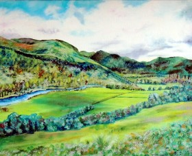 River, flowing water, hedgerows,