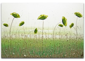 lime green modern landscape painting
