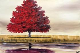 Vibrant Red Tree