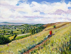 WALKING ON THE COTSWOLD WAY AT SELSEY painting for sale