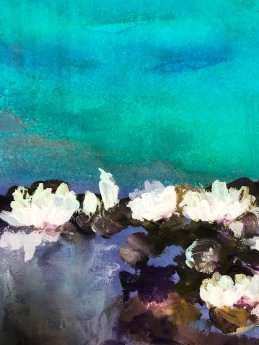 waterlily Monet turquoise white flowers leaves purple lilac