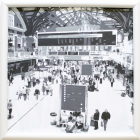 We Are Essex - Liverpool Street Station, black and white painting