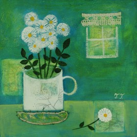 White Flowers in a Vintage Mug