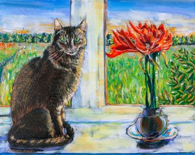 WINDOWSILL CAT WITH RED AMARYLLIS Acrylic on canvas painting 40cm x 50cm