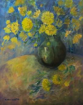 yellow chrysanths
