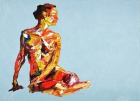 Yoga Nude Pose Painting 937