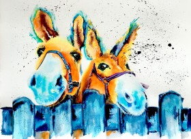 Yuletide Mules artwork.  Contemporary watercolour animal painting of two donkeys.